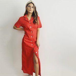 Vintage Red Linen Midi Button Down Dress